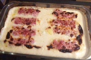 Receta de puerros gratinados con jamón y queso en Thermomix